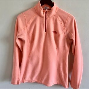 North Face Coral Pink Fleece Zip Up Small